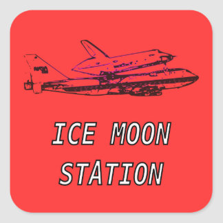 Ice Moon Station Space Shuttle Square Sticker
