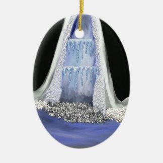 ice mountain ceramic oval ornament