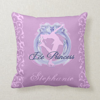 Ice Princess Pink/Purple Figure Skater Throw Pillow