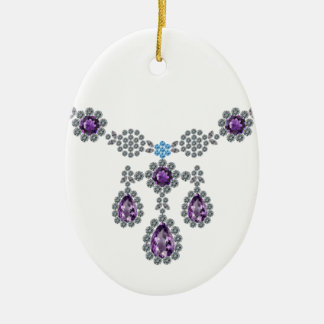 Ice Queen Necklace Ceramic Oval Ornament