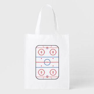 Ice Rink Diagram Hockey Game Graphic Reusable Grocery Bag