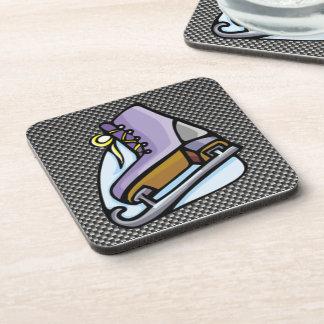 Ice Skater; Faux Carbon Fiber Coaster