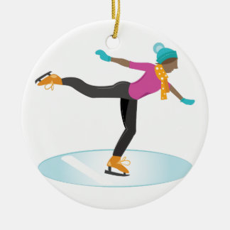 Ice Skater Round Ceramic Ornament