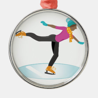 Ice Skater Silver-Colored Round Ornament