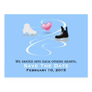 Ice Skaters Wedding Save The Date Post Card