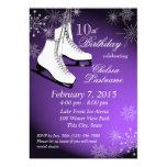 "Ice Skates and Snowflakes Purple Birthday 5"" X 7"" Invitation Card"