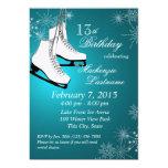 "Ice Skates and Snowflakes Teal Birthday 5"" X 7"" Invitation Card"