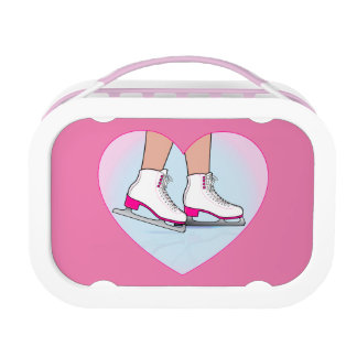 Ice Skates in Pink in a Heart Lunch Box