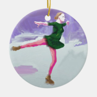 Ice Skating Art Ceramic Ornament