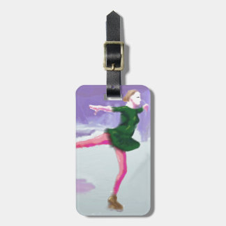 Ice Skating Art Luggage Tag