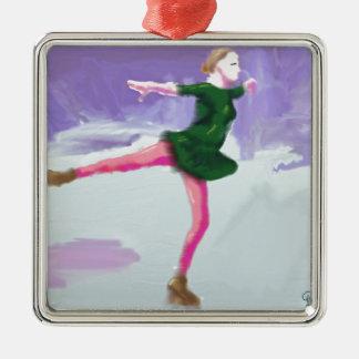 Ice Skating Art Metal Ornament