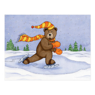 Ice Skating Bear Postcard