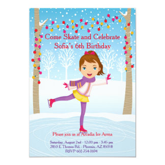 Ice Skating Birthday Invitation - Girls