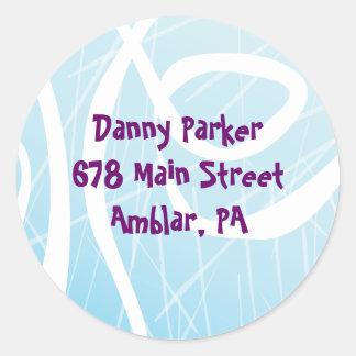 ICE SKATING Birthday Party Return Address Sticker