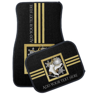 Ice Skating Black Gold Modern Chic Personalized Car Mat