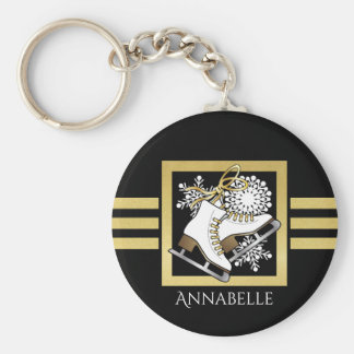 Ice Skating Black Gold Modern Chic Personalized Keychain