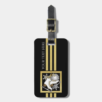 Ice Skating Black Gold Modern Chic Personalized Luggage Tag