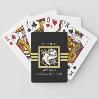Ice Skating Black Gold Modern Chic Personalized Poker Deck