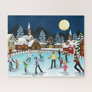 "Ice Skating by Moonlight Puzzle, 16"" x 20"", 520pcs Jigsaw Puzzle"