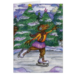 Ice Skating Chupacabra Holiday Card