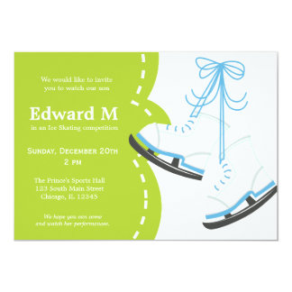 """Ice Skating competition 5"""" X 7"""" Invitation Card"""