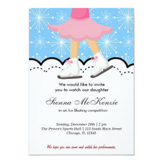 """Ice Skating Competition (Blue) 5"""" X 7"""" Invitation Card"""