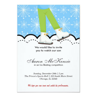 "Ice Skating Competition (Blue) 5"" X 7"" Invitation Card"