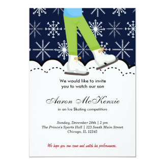 "Ice Skating Competition (Dark Blue) 5"" X 7"" Invitation Card"