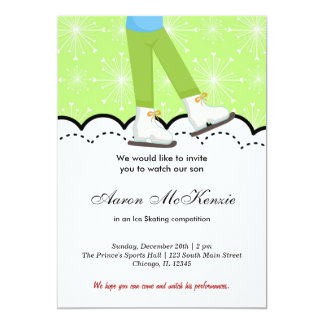 """Ice Skating Competition (Green) 5"""" X 7"""" Invitation Card"""