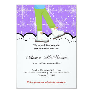 "Ice Skating Competition (Purple) 5"" X 7"" Invitation Card"