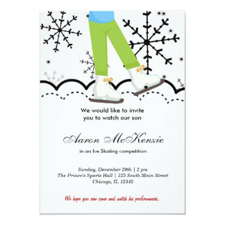 """Ice Skating Competition (White) 5"""" X 7"""" Invitation Card"""