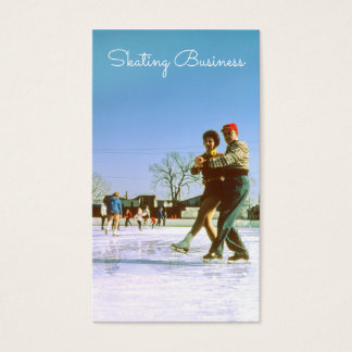 Ice Skating, Couple Retro Ice Rink Winter Skate Business Card
