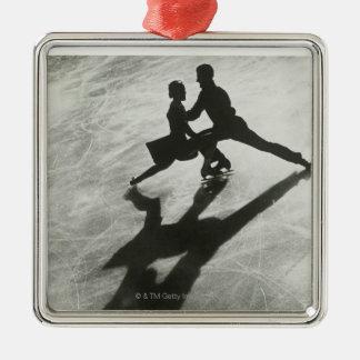 Ice Skating Couple Silver-Colored Square Ornament