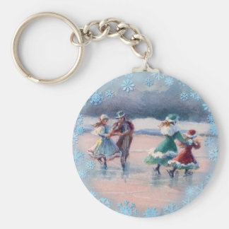 ICE SKATING COUPLES by SHARON SHARPE Card Basic Round Button Keychain