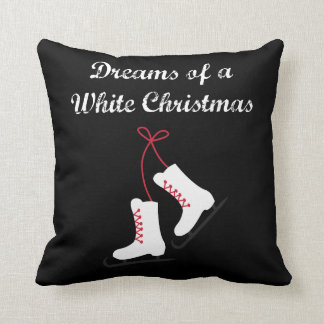 Ice Skating Dreams of a White Christmas Throw Pillow