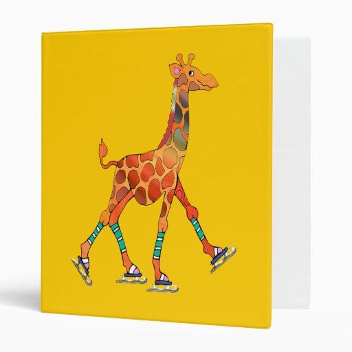 Ice Skating Giraffe Vinyl Binder