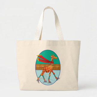 Ice Skating Giraffe in the Oval Rink Large Tote Bag