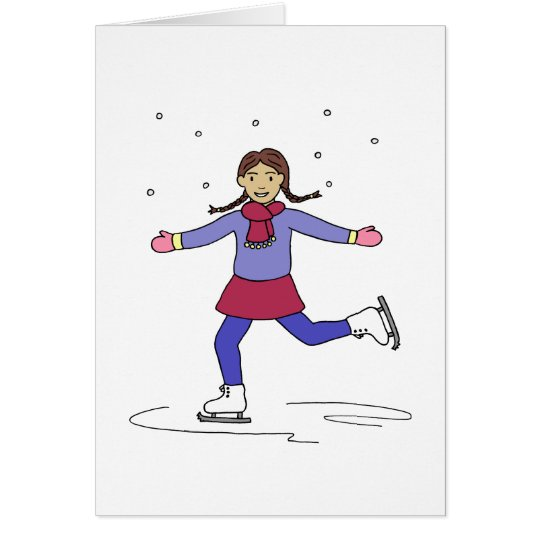 Ice Skating Girl Figure Skater Card