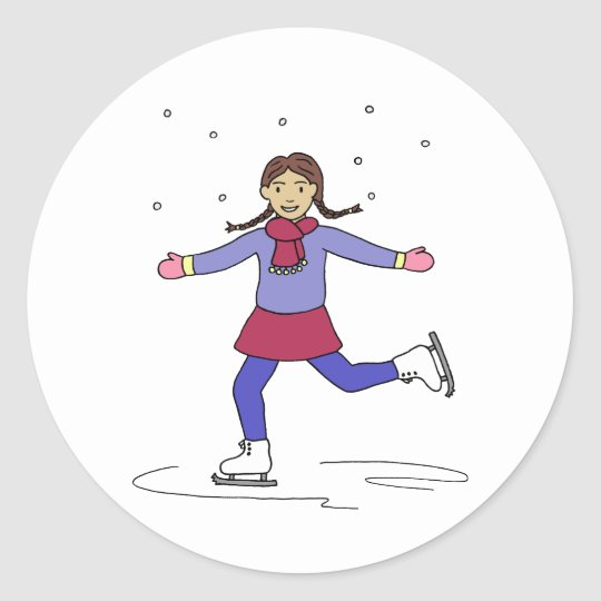 Ice Skating Girl Figure Skater Classic Round Sticker
