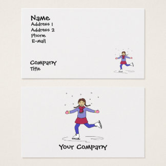 Ice Skating Girl Figure Skater Coach Instructor Business Card