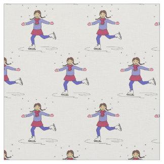 Ice Skating Girl Figure Skater Fabric