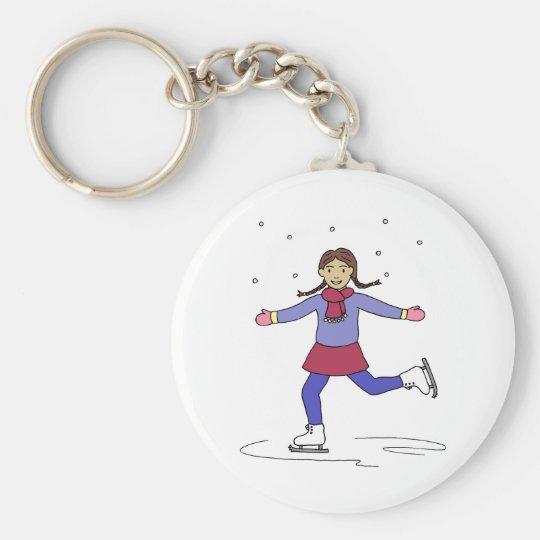 Ice Skating Girl Figure Skater Keychain