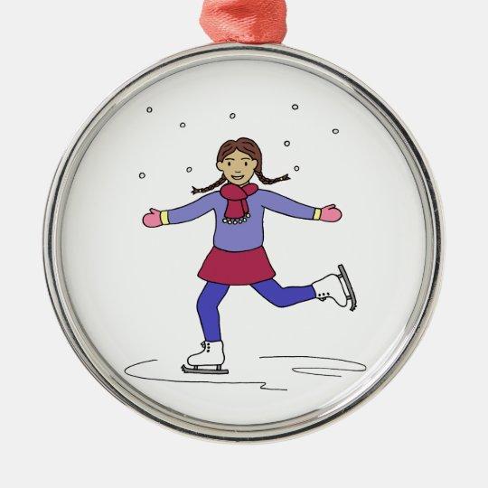 Ice Skating Girl Figure Skater Metal Ornament
