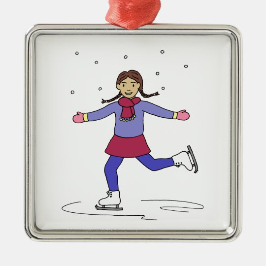 Ice Skating Girl Figure Skater Metal Ornament