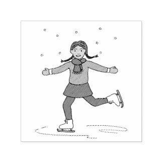 Ice Skating Girl Figure Skater Self-inking Stamp