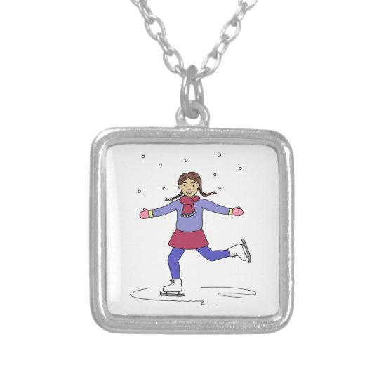 Ice Skating Girl Figure Skater Silver Plated Necklace