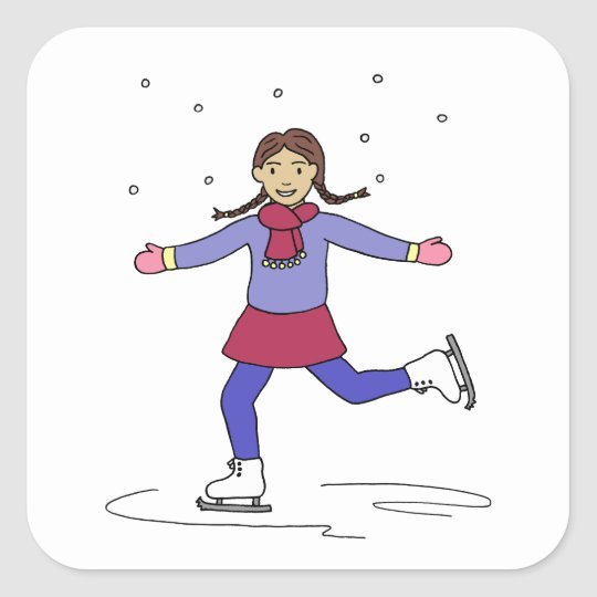 Ice Skating Girl Figure Skater Square Sticker