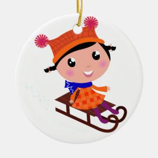 Ice skating girl Orange Ceramic Ornament