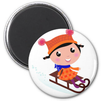 Ice skating girl Orange Magnet