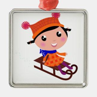 Ice skating girl Orange Metal Ornament
